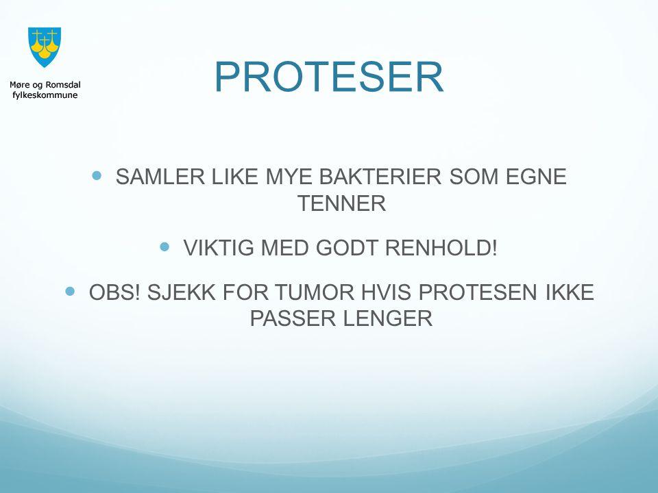 PROTESER SAMLER LIKE MYE BAKTERIER SOM EGNE TENNER