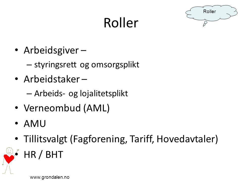 Roller Arbeidsgiver – Arbeidstaker – Verneombud (AML) AMU