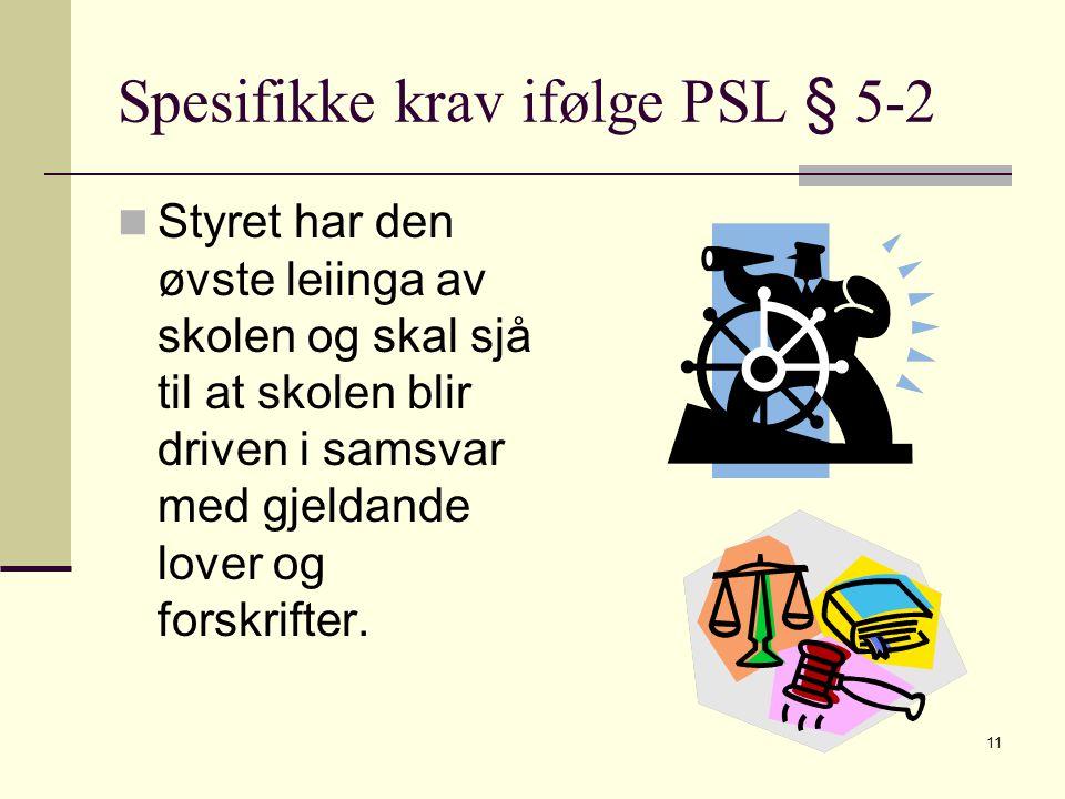 Spesifikke krav ifølge PSL § 5-2