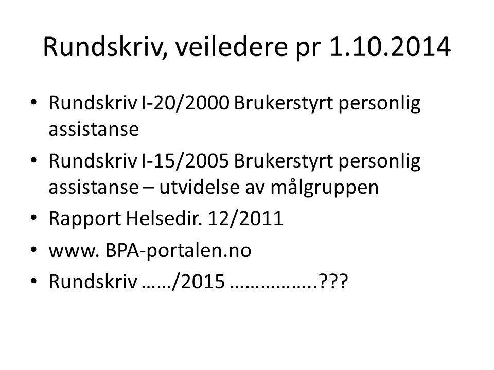 Rundskriv, veiledere pr 1.10.2014