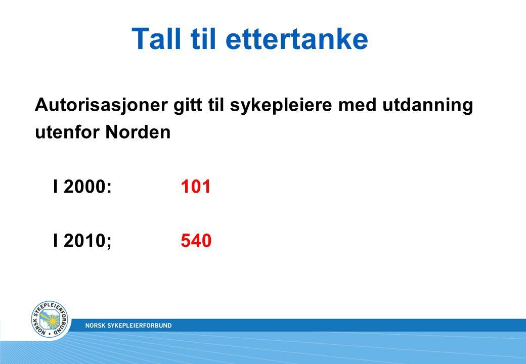 Tall til ettertanke Autorisasjoner gitt til sykepleiere med utdanning utenfor Norden I 2000: 101 I 2010; 540