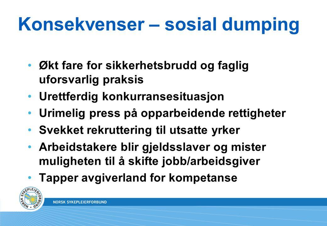 Konsekvenser – sosial dumping
