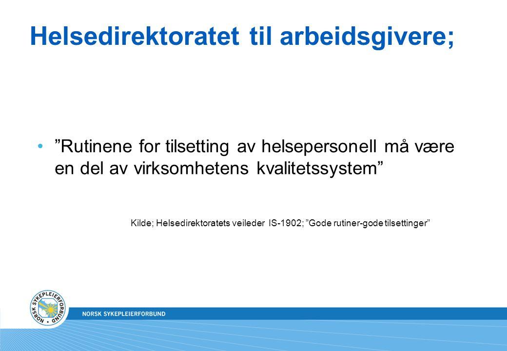Helsedirektoratet til arbeidsgivere;