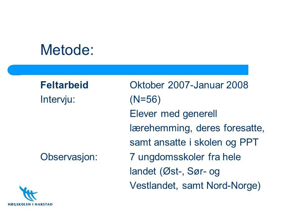 Metode: Feltarbeid Oktober 2007-Januar 2008 Intervju: (N=56)