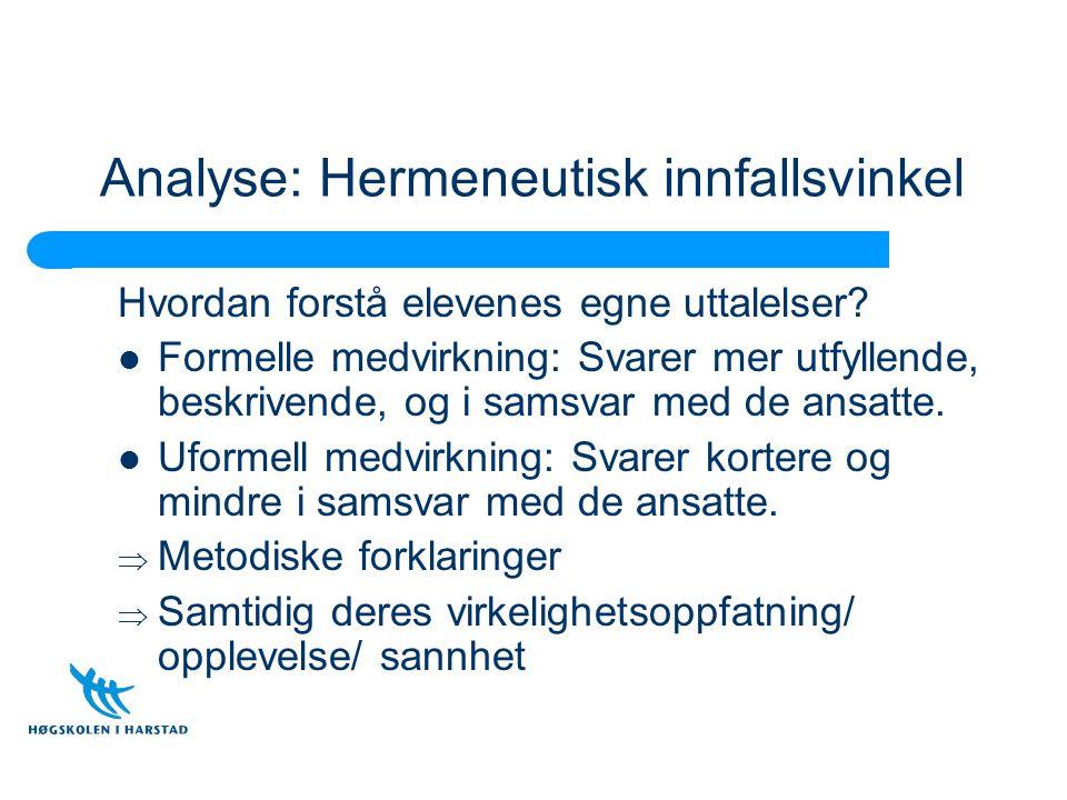 Analyse: Hermeneutisk innfallsvinkel