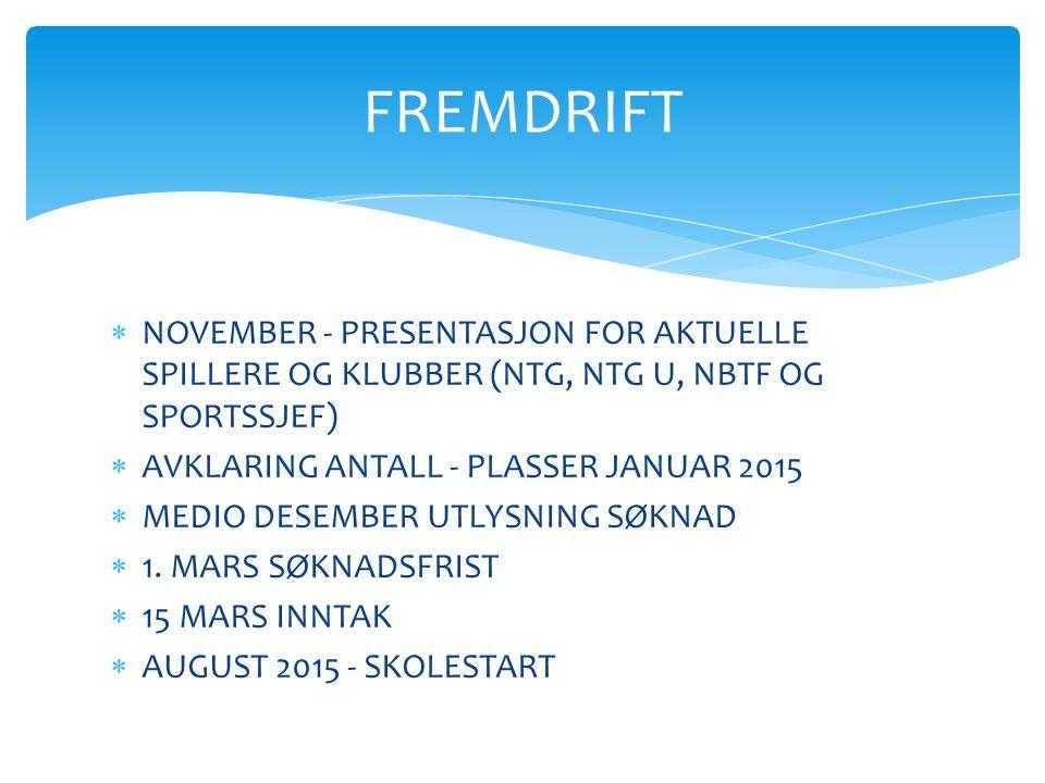 FREMDRIFT NOVEMBER - PRESENTASJON FOR AKTUELLE SPILLERE OG KLUBBER (NTG, NTG U, NBTF OG SPORTSSJEF)