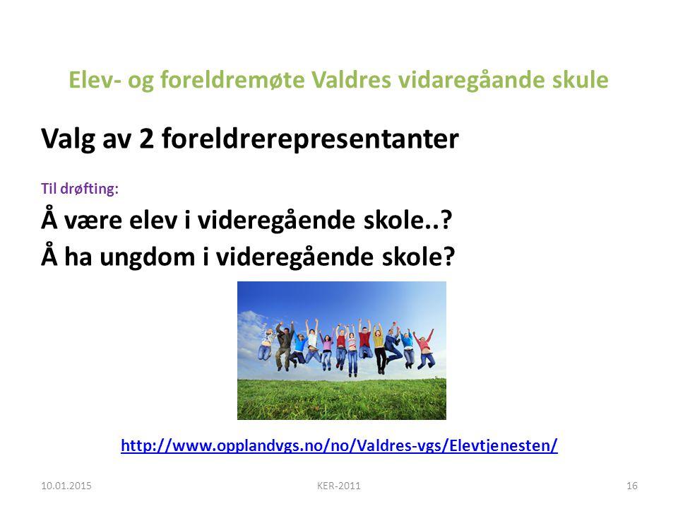 Elev- og foreldremøte Valdres vidaregåande skule
