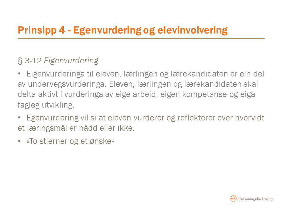 Prinsipp 4 - Egenvurdering og elevinvolvering