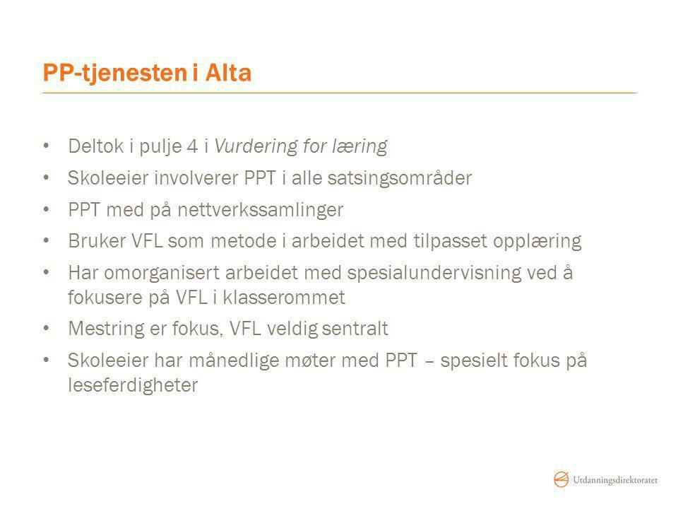 PP-tjenesten i Alta Deltok i pulje 4 i Vurdering for læring