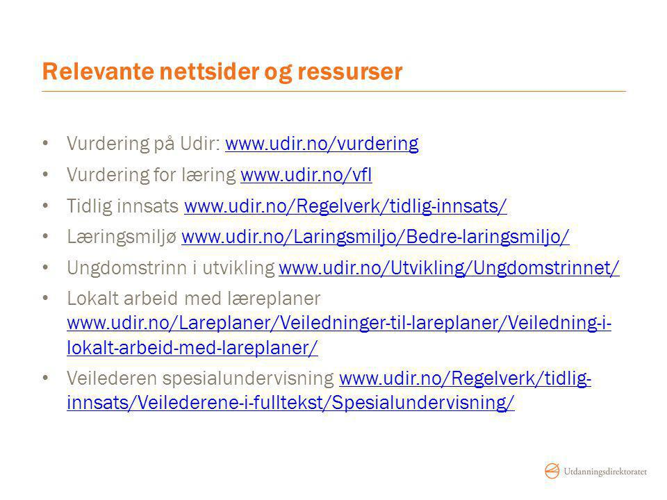 Relevante nettsider og ressurser