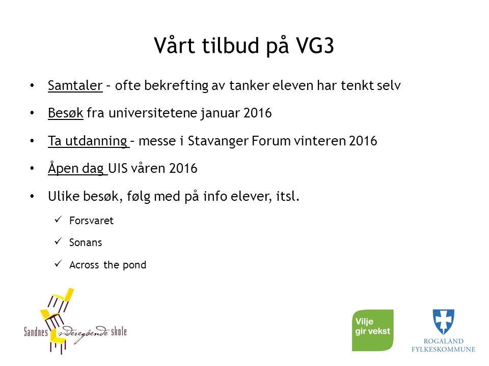 Vårt tilbud på VG3 Samtaler – ofte bekrefting av tanker eleven har tenkt selv. Besøk fra universitetene januar 2016.