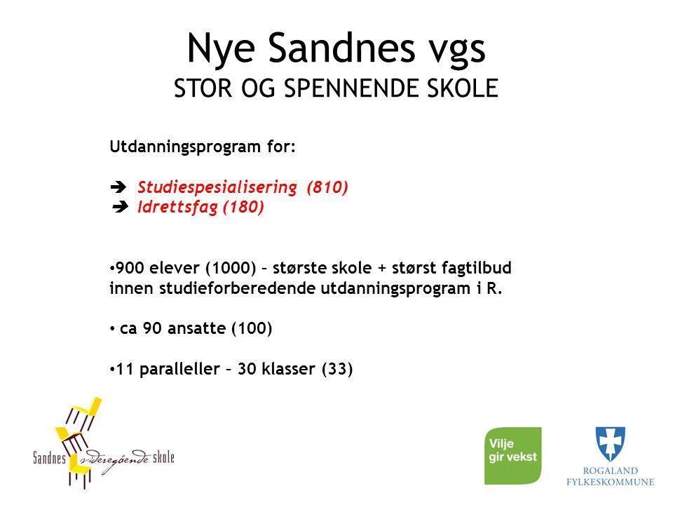 Nye Sandnes vgs STOR OG SPENNENDE SKOLE