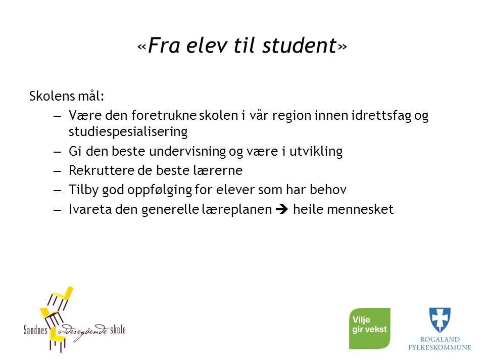 «Fra elev til student» Skolens mål: