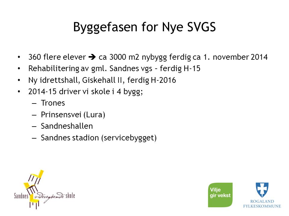 Byggefasen for Nye SVGS