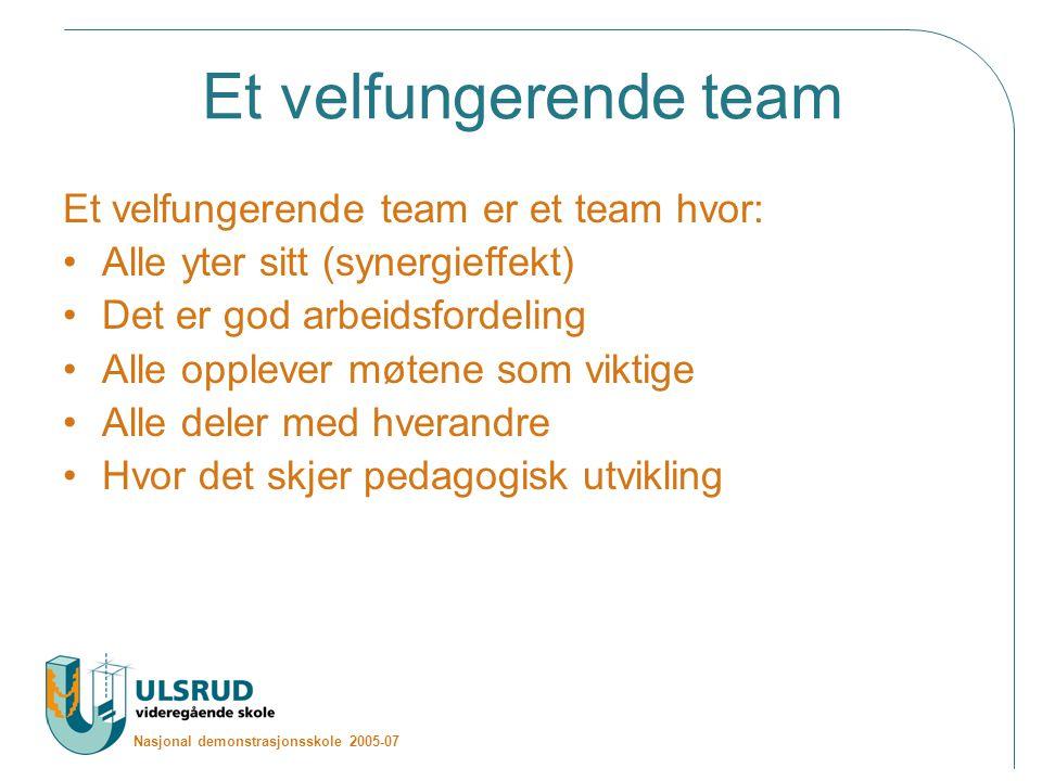 Et velfungerende team Et velfungerende team er et team hvor: