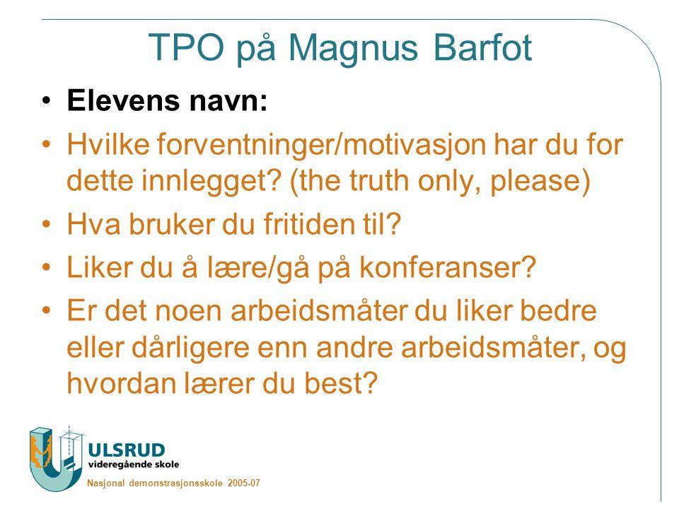 TPO på Magnus Barfot Elevens navn: