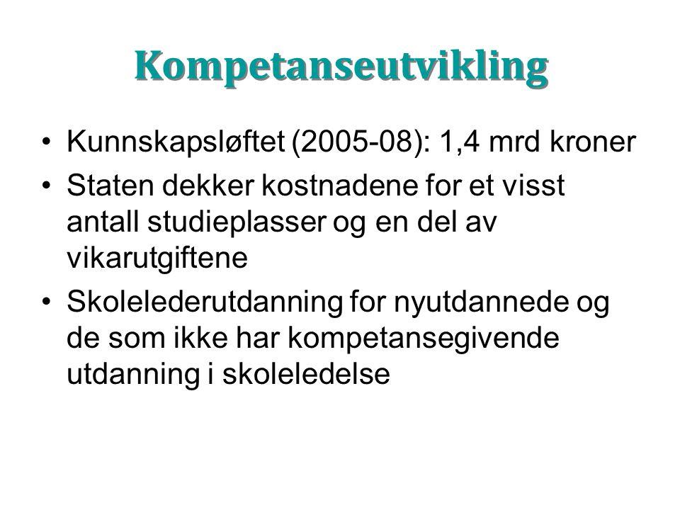 Kompetanseutvikling Kunnskapsløftet (2005-08): 1,4 mrd kroner