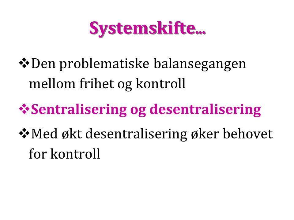 Systemskifte… Den problematiske balansegangen mellom frihet og kontroll. Sentralisering og desentralisering.