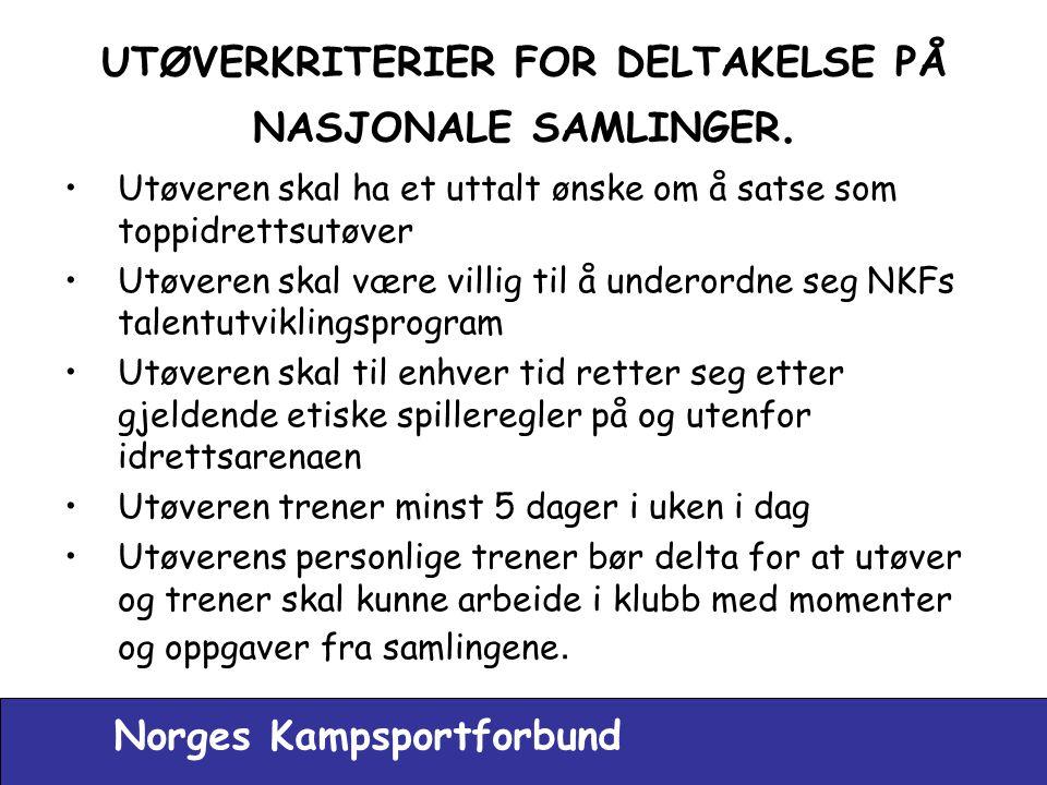 UTØVERKRITERIER FOR DELTAKELSE PÅ NASJONALE SAMLINGER.