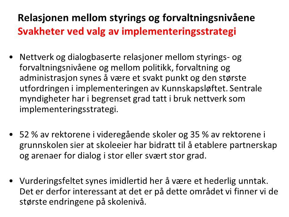 Relasjonen mellom styrings og forvaltningsnivåene Svakheter ved valg av implementeringsstrategi