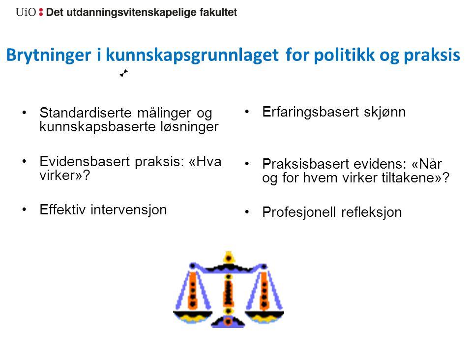 Brytninger i kunnskapsgrunnlaget for politikk og praksis