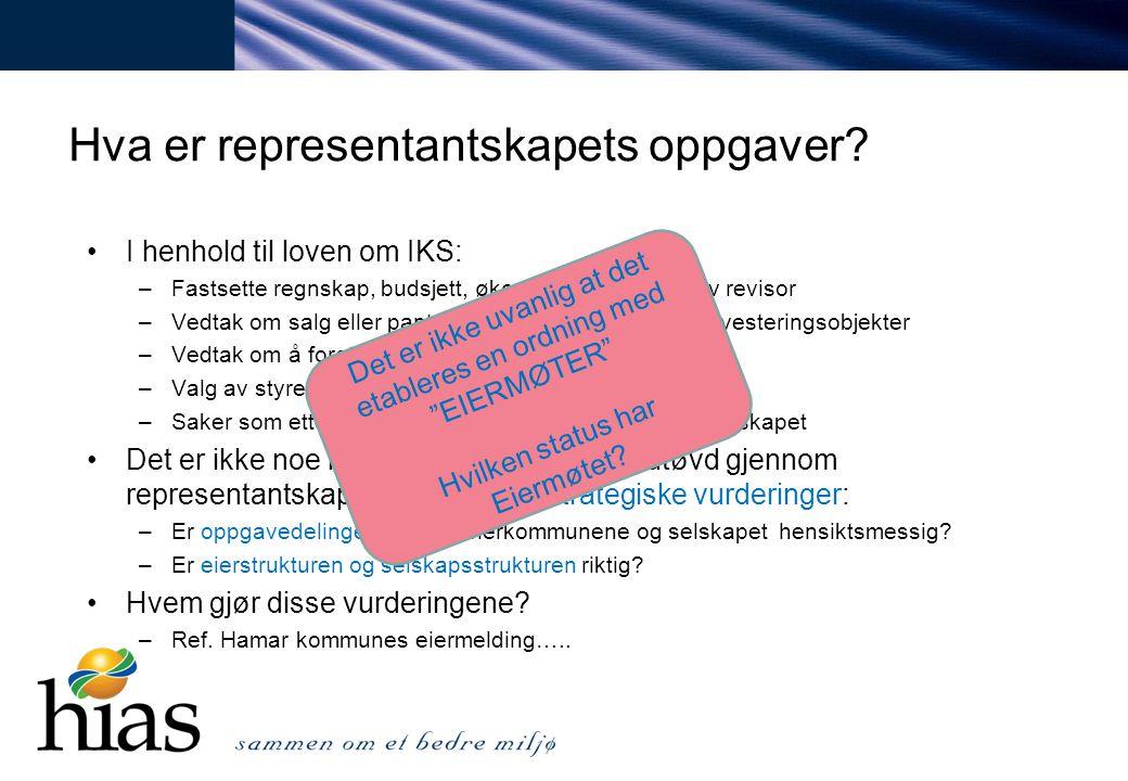 Hva er representantskapets oppgaver