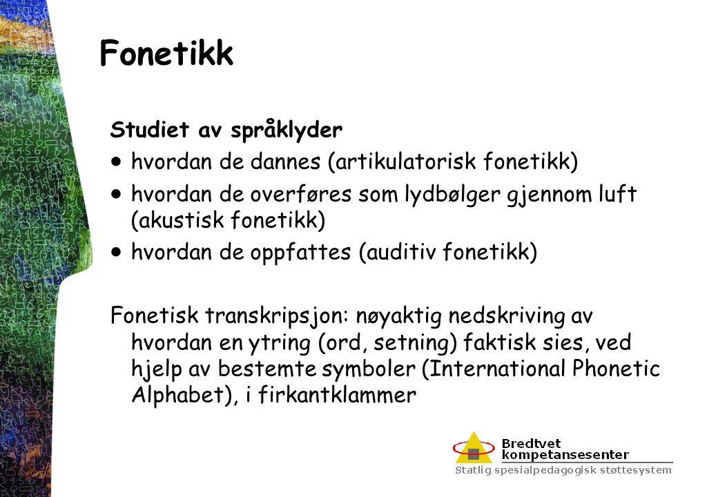 Fonetikk Studiet av språklyder