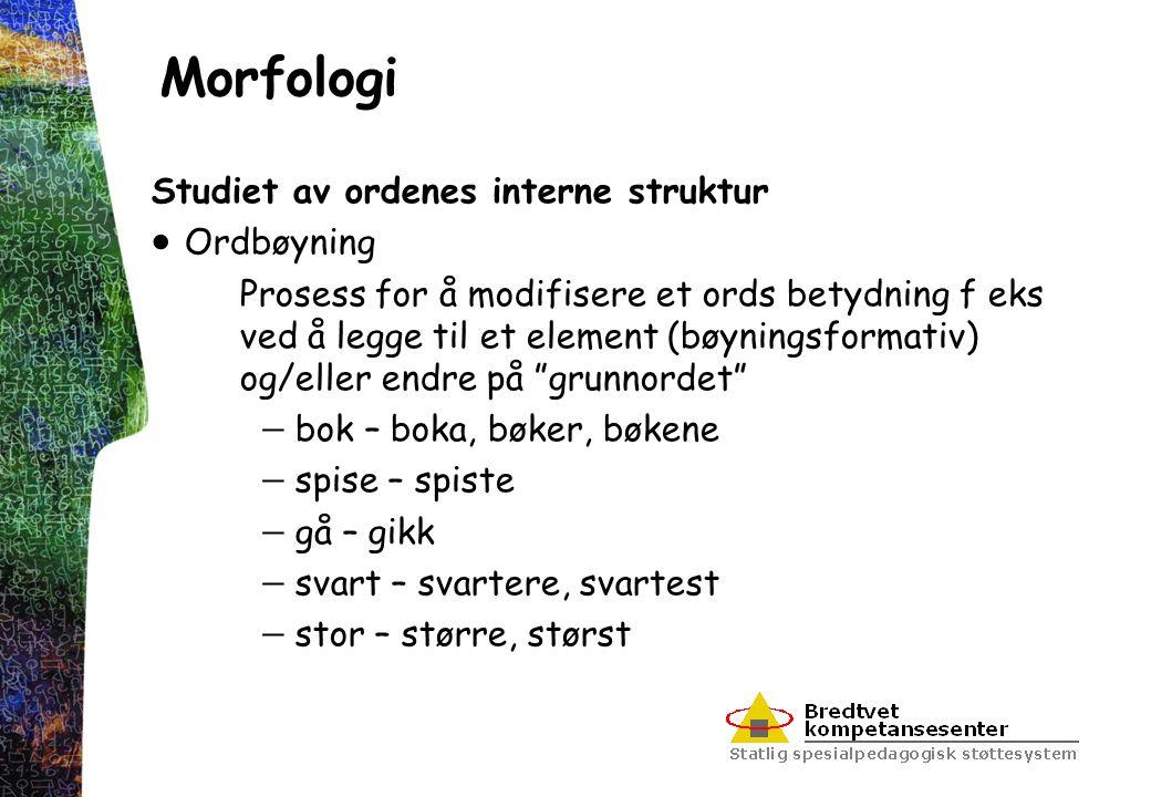 Morfologi Studiet av ordenes interne struktur Ordbøyning