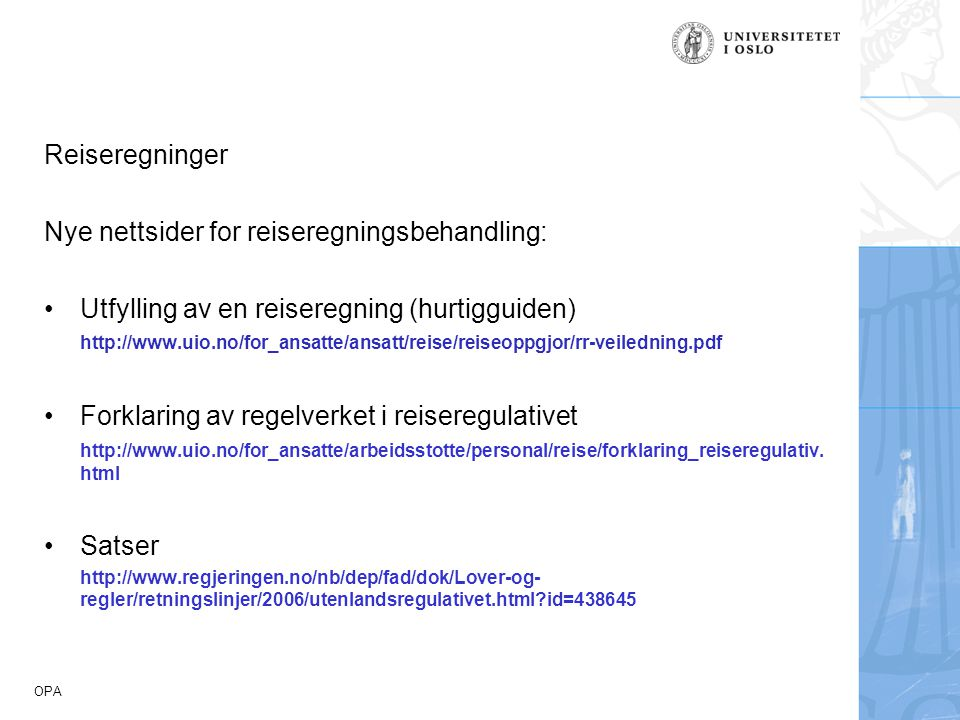 Nye nettsider for reiseregningsbehandling: