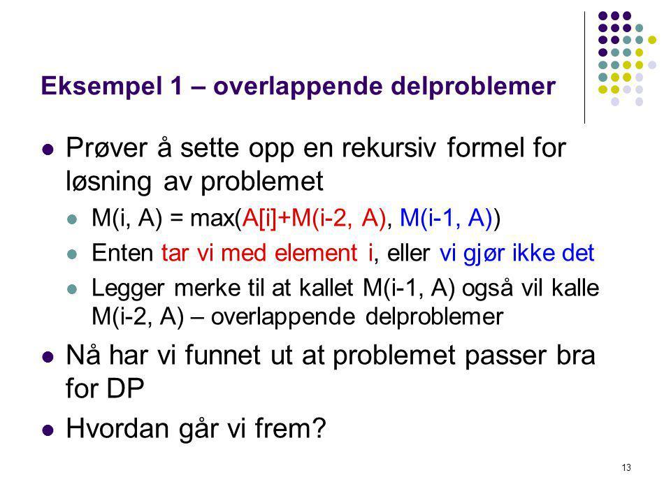 Eksempel 1 – overlappende delproblemer