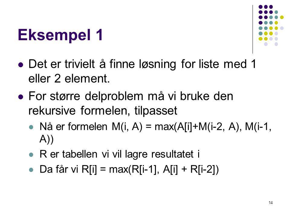Eksempel 1 Det er trivielt å finne løsning for liste med 1 eller 2 element. For større delproblem må vi bruke den rekursive formelen, tilpasset.