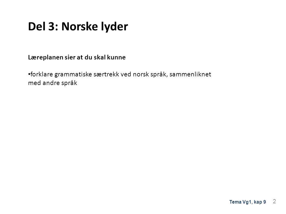 Del 3: Norske lyder Læreplanen sier at du skal kunne