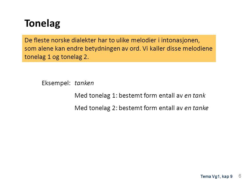 Tonelag Eksempel: tanken. Med tonelag 1: bestemt form entall av en tank. Med tonelag 2: bestemt form entall av en tanke.
