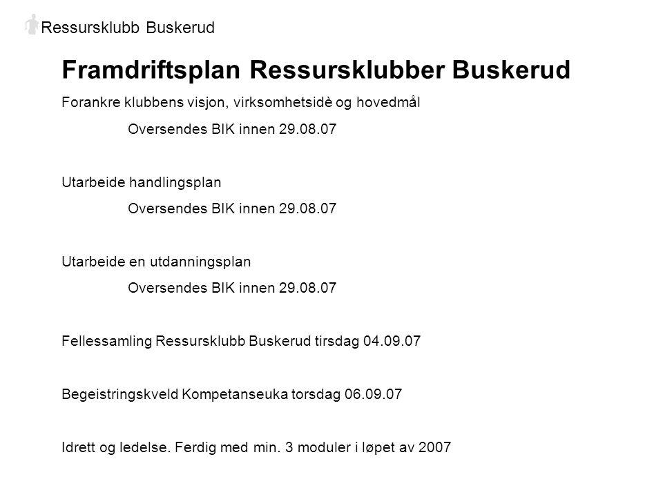 Framdriftsplan Ressursklubber Buskerud