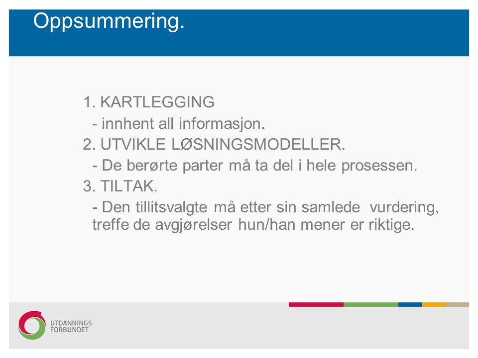 Oppsummering. 1. KARTLEGGING - innhent all informasjon.