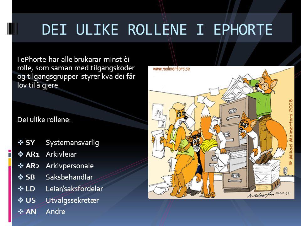 DEI ULIKE ROLLENE I EPHORTE