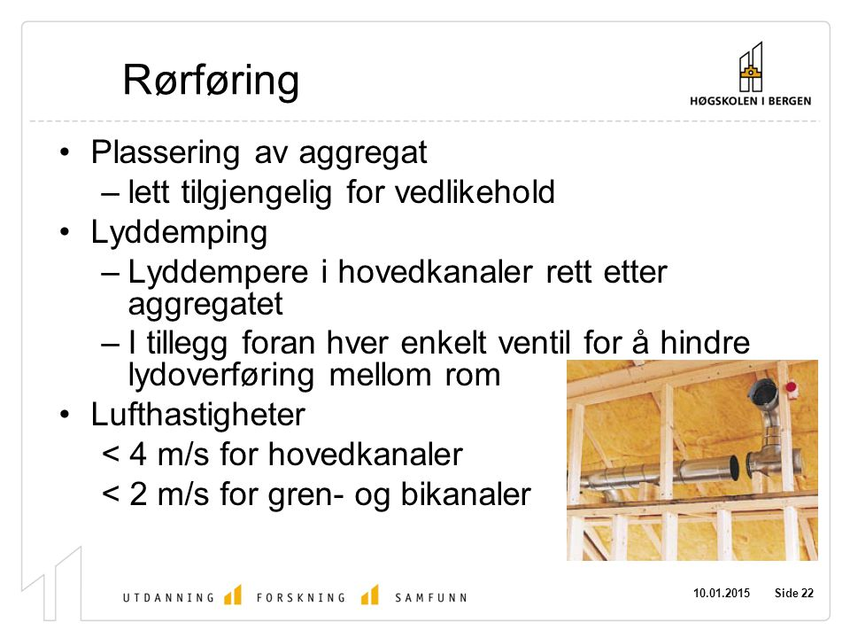 Rørføring Plassering av aggregat lett tilgjengelig for vedlikehold