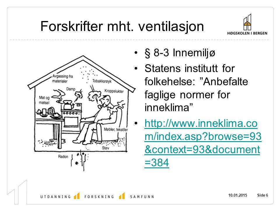 Forskrifter mht. ventilasjon