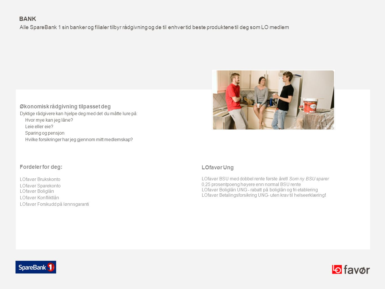 Bank Alle SpareBank 1 sin banker og filialer tilbyr rådgivning og de til enhver tid beste produktene til deg som LO medlem.