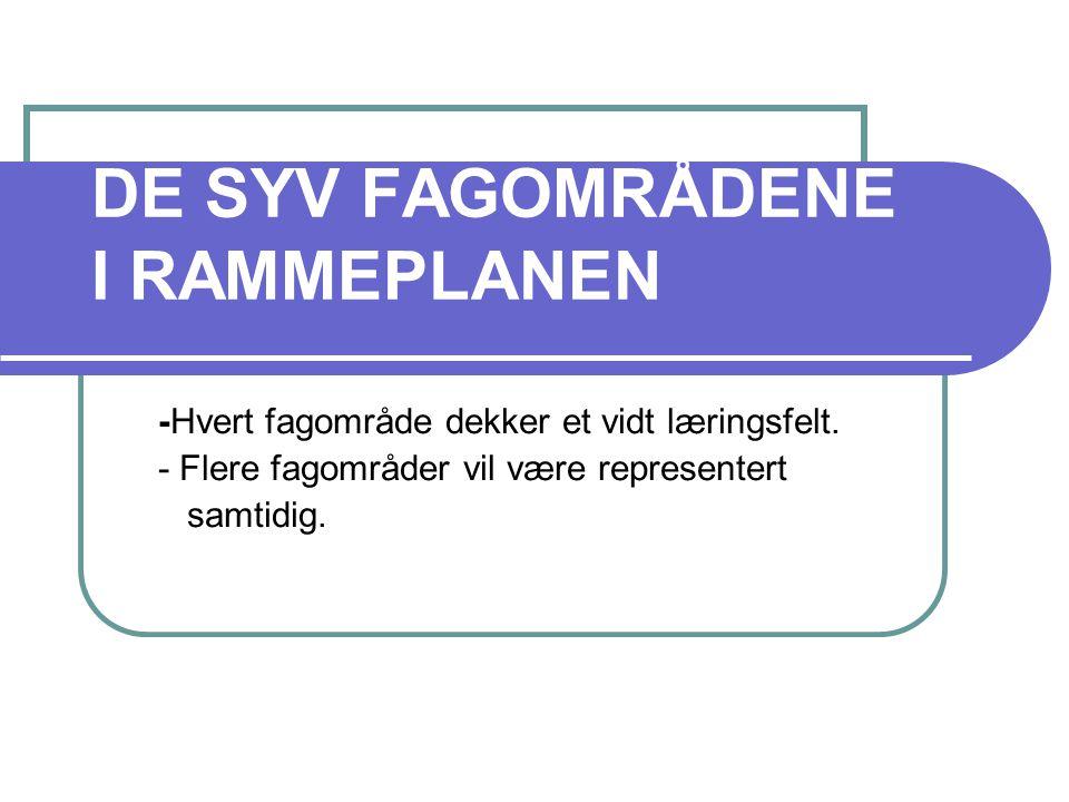 DE SYV FAGOMRÅDENE I RAMMEPLANEN