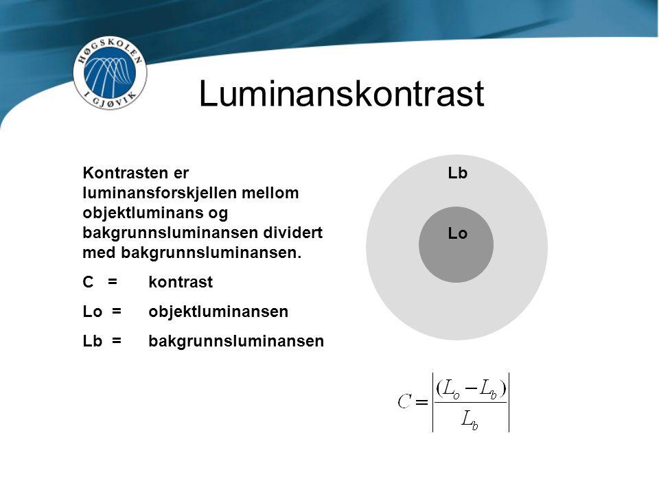 Luminanskontrast Kontrasten er luminansforskjellen mellom objektluminans og bakgrunnsluminansen dividert med bakgrunnsluminansen.