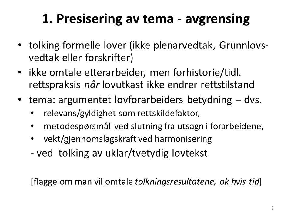 1. Presisering av tema - avgrensing