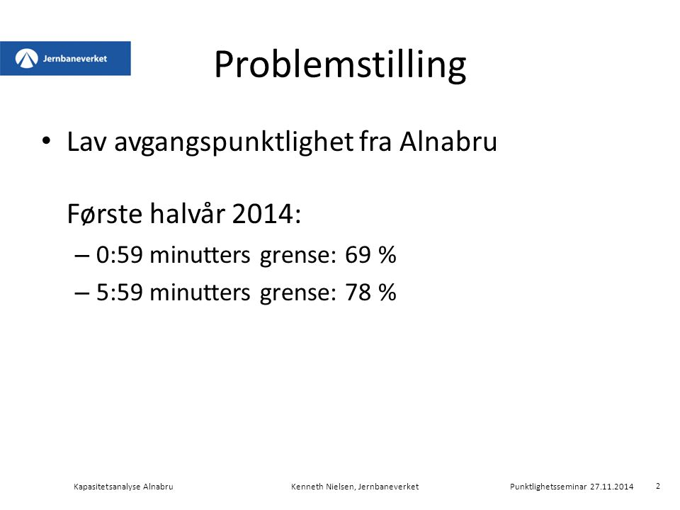Problemstilling Lav avgangspunktlighet fra Alnabru Første halvår 2014: