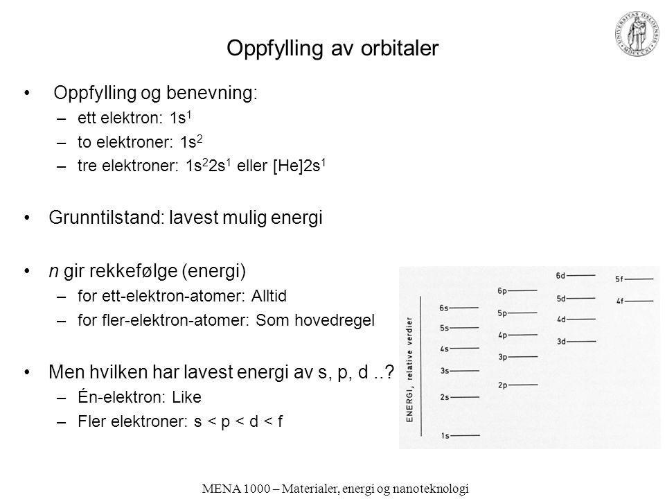 Oppfylling av orbitaler