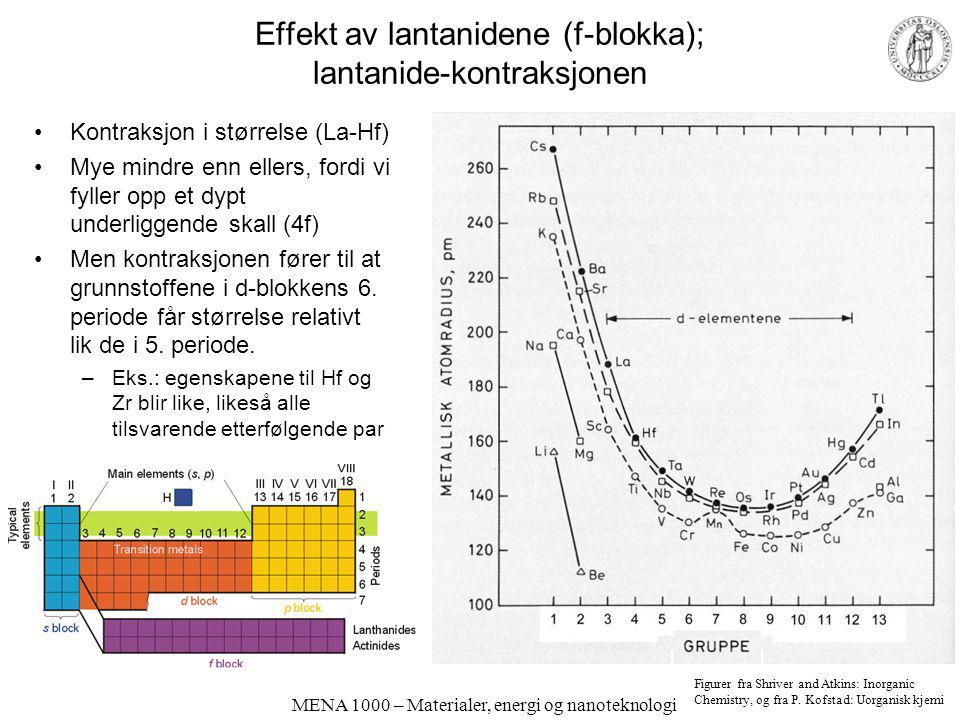 Effekt av lantanidene (f-blokka); lantanide-kontraksjonen