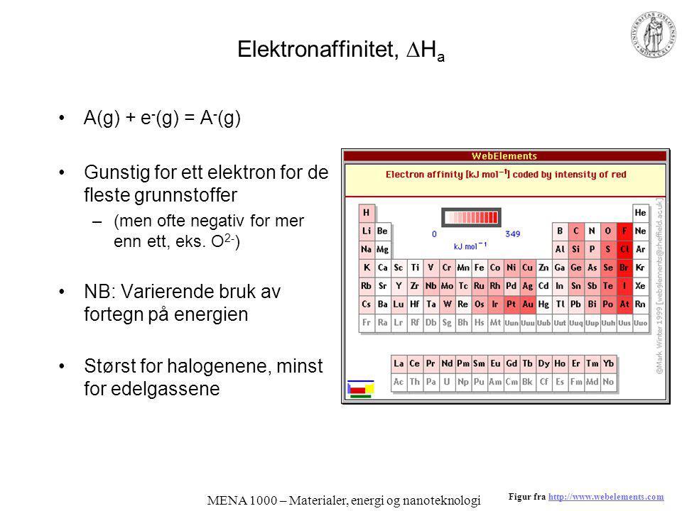 Elektronaffinitet, Ha
