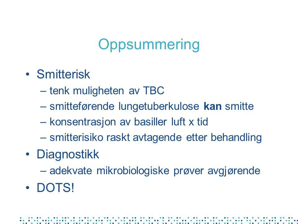 Oppsummering Smitterisk Diagnostikk DOTS! tenk muligheten av TBC