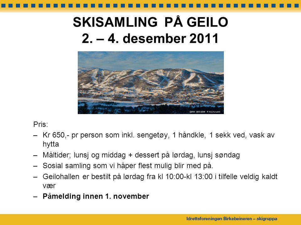 SKISAMLING PÅ GEILO 2. – 4. desember 2011
