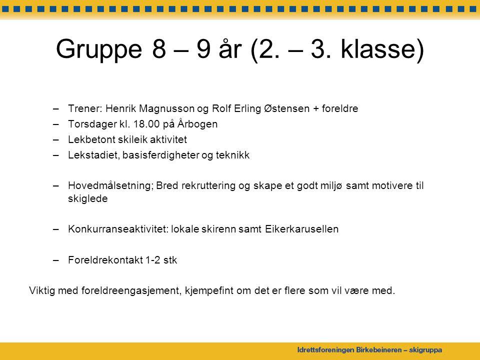 Gruppe 8 – 9 år (2. – 3. klasse) Trener: Henrik Magnusson og Rolf Erling Østensen + foreldre. Torsdager kl. 18.00 på Årbogen.