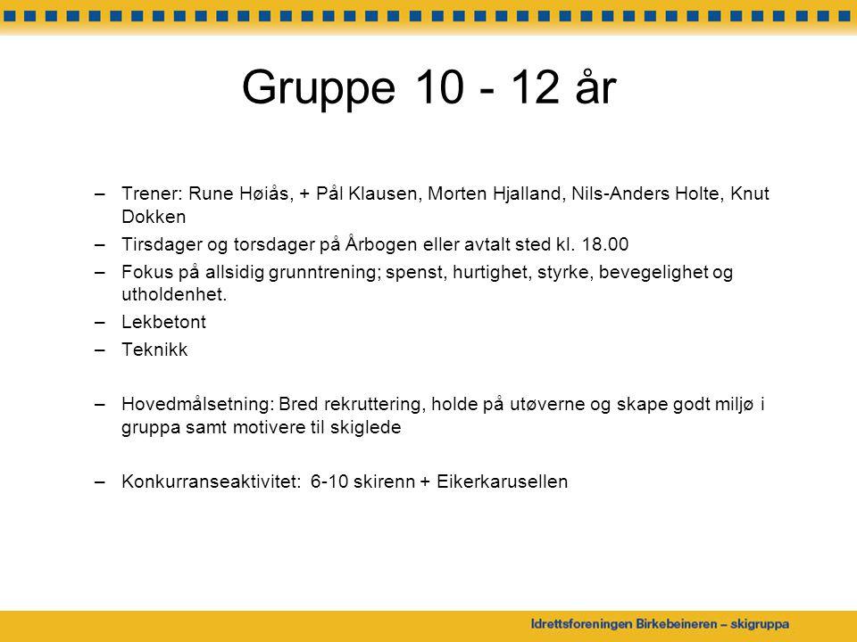 Gruppe 10 - 12 år Trener: Rune Høiås, + Pål Klausen, Morten Hjalland, Nils-Anders Holte, Knut Dokken.